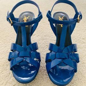 Blue patent YSL Tribute Sandal